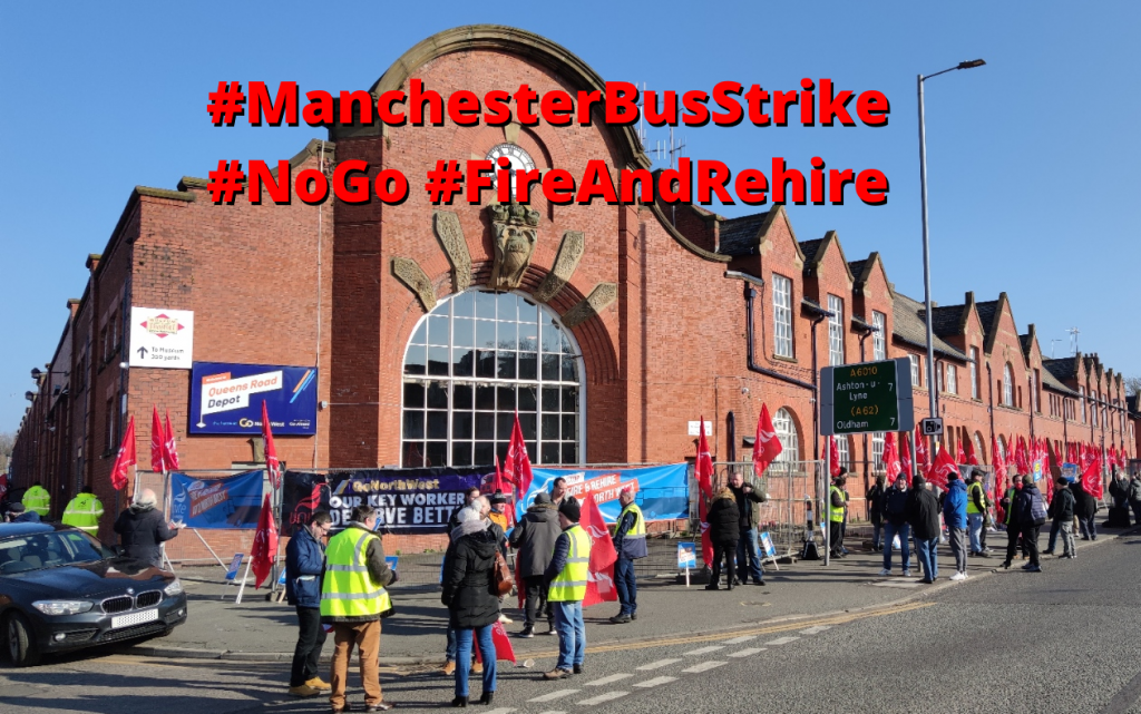 Picture of Queen's Road bus garage with strikers outside and campaign hashtags